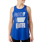 Reebok Women's Strong Is Beautiful Graphic High Neck Basketball Tank Top