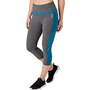 Reebok Women's Heather Pieced Stretch Cotton High Waist Capris