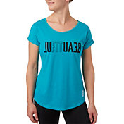 Reebok Women's Plus Size Open Back Beautiful Graphic T-Shirt