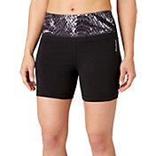 Reebok Women's Plus Size Printed High Waist Stretch Cotton 9'' Shorts
