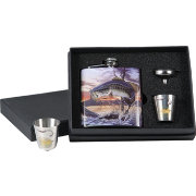 Rivers Edge Bass Flask and Shot Glass Set