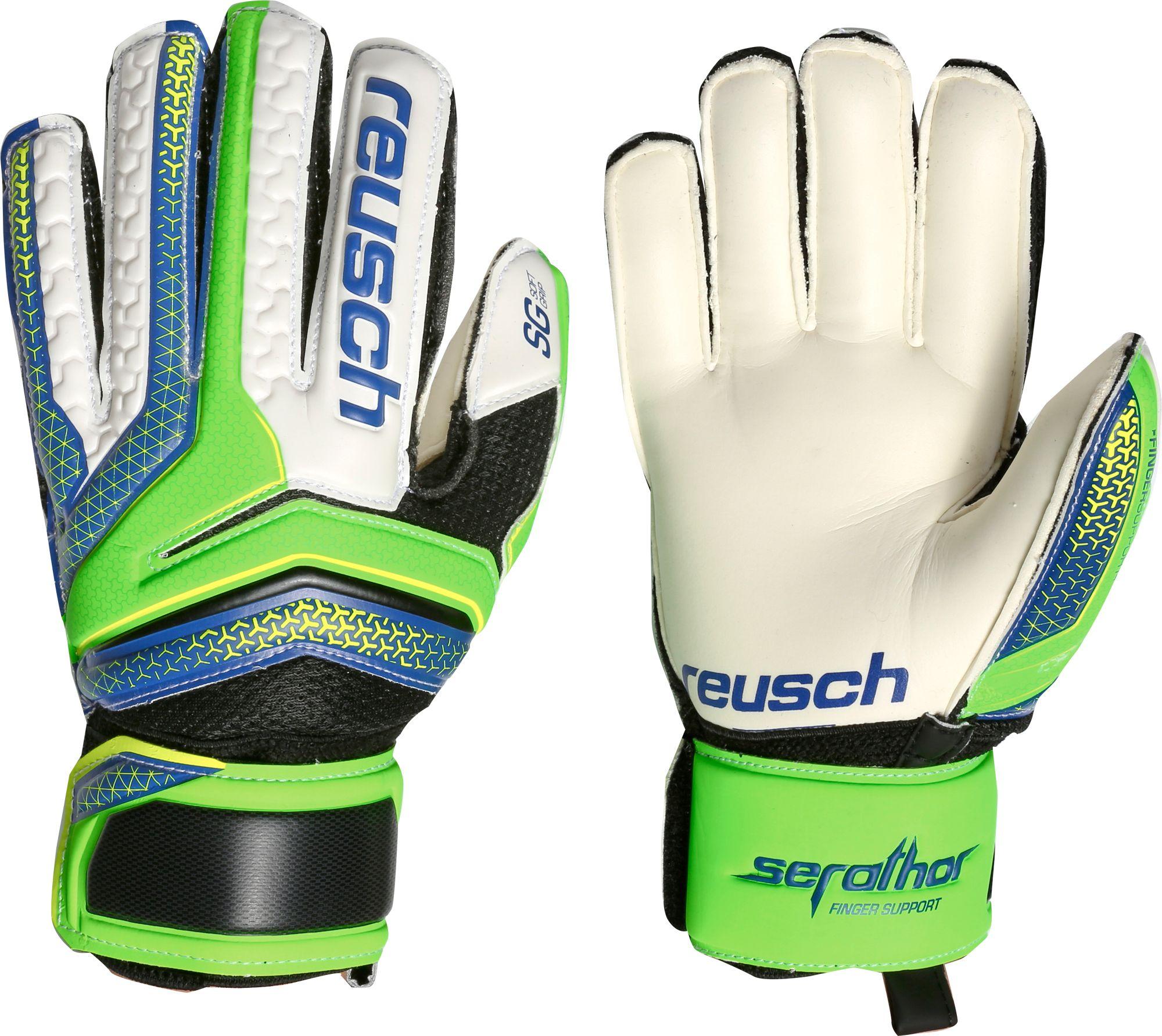 Womens leather gloves green - Product Image Reusch Junior Serathor Sg Finger Support Soccer Goalie Gloves