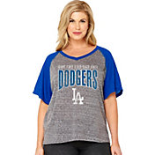 Soft As A Grape Women's Los Angeles Dodgers Tri-Blend Raglan Half-Sleeve Shirt