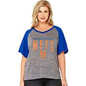 Soft As A Grape Women's New York Mets Tri-Blend Raglan Half-Sleeve Shirt