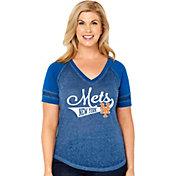 Soft As A Grape Women's New York Mets V-Neck Shirt