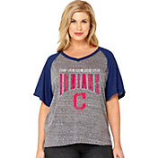 Soft As A Grape Women's Cleveland Indians Tri-Blend Raglan Half-Sleeve Shirt