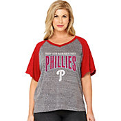 Soft As A Grape Women's Philadelphia Phillies Tri-Blend Raglan Half-Sleeve Shirt