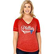 Soft As A Grape Women's Philadelphia Phillies V-Neck Shirt