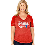 Soft As A Grape Women's Philadelphia Phillies V-Neck Shirt
