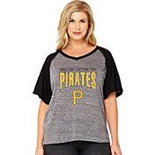 Soft As A Grape Women's Pittsburgh Pirates Tri-Blend Raglan Half-Sleeve Shirt