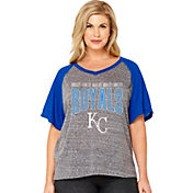 Soft As A Grape Women's Kansas City Royals Tri-Blend Raglan Half-Sleeve Shirt