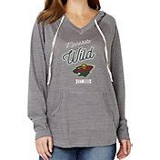 Soft As A Grape Women's Minnesota Wild Grey V-Neck Hoodie