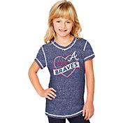 Soft As A Grape Youth Girls' Atlanta Braves Navy V-Neck Shirt