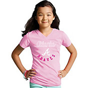 Soft As A Grape Youth Girls' Atlanta Braves Pink V-Neck Shirt