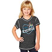 Soft As A Grape Youth Girls' Miami Marlins Black V-Neck Shirt