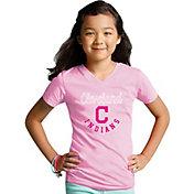 Soft As A Grape Youth Girls' Cleveland Indians Pink V-Neck Shirt