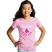 Soft As A Grape Youth Girls' Boston Red Sox Pink V-Neck Shirt