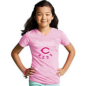 Soft As A Grape Youth Girls' Cincinnati Reds Pink V-Neck Shirt