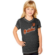 Soft As A Grape Youth Girls' Baltimore Orioles Tri-Blend Black V-Neck T-Shirt