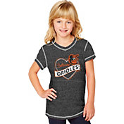 Soft As A Grape Youth Girls' Baltimore Orioles Black V-Neck Shirt