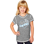 Soft As A Grape Youth Girls' Tampa Bay Rays Grey V-Neck Shirt