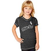 Soft As A Grape Youth Girls' Chicago White Sox Tri-Blend Black V-Neck T-Shirt