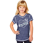 Soft As A Grape Youth Girls' New York Yankees Navy V-Neck Shirt