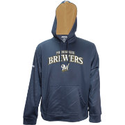 Stitches Men's Milwaukee Brewers Pullover Navy Hoodie