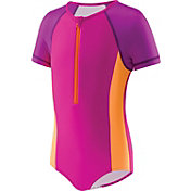 Speedo Girls' Short Sleeve Zip Swimsuit