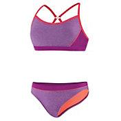Speedo Women's Heathered Splice Clipback 2-Piece Swimsuit