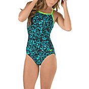 Speedo Women's Print Cross Power Clip Back Swimsuit