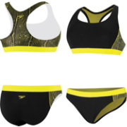 Speedo Women's Wavy Water Swirl Splice Racerback 2-Piece Swimsuit