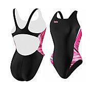 Speedo Women's Breaststroke 4 Hope Rainbow Stripe Splice Pulse Back Swimsuit