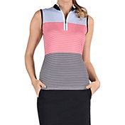 Tail Women's Colorblock Mini Mock Sleeveless Golf Shirt