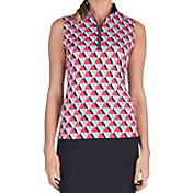 Tail Women's Trio Print Mock Neck Sleeveless Golf Polo