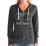Touch by Alyssa Milano Women's Philadelphia Eagles Nubby Tri-Blend Full-Zip Black Hoodie