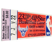 That's My Ticket 1973 NBA All-Star Game Canvas Ticket