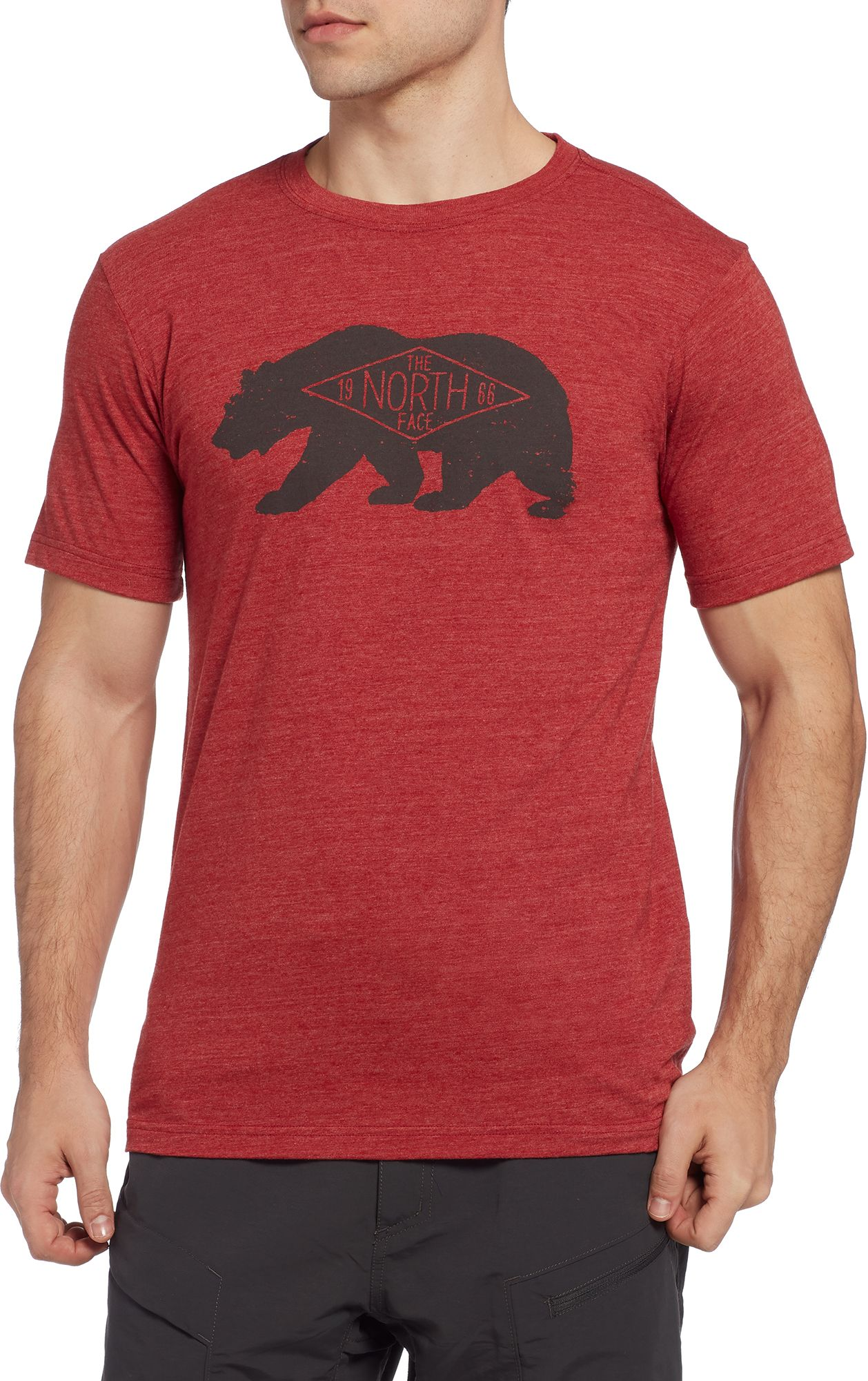 Product Image · The North Face Men's Heritage Bear T-Shirt. Cardinal Red  Heather; Pompeianredhtr/Asphaltgry