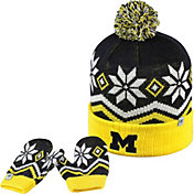 Top of the World Youth Michigan Wolverines Blue/Maize/White Lil Frost Beanie and Mittens Set