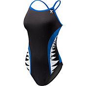 TYR Girls' Shark Bite Diamondfit Back Swimsuit