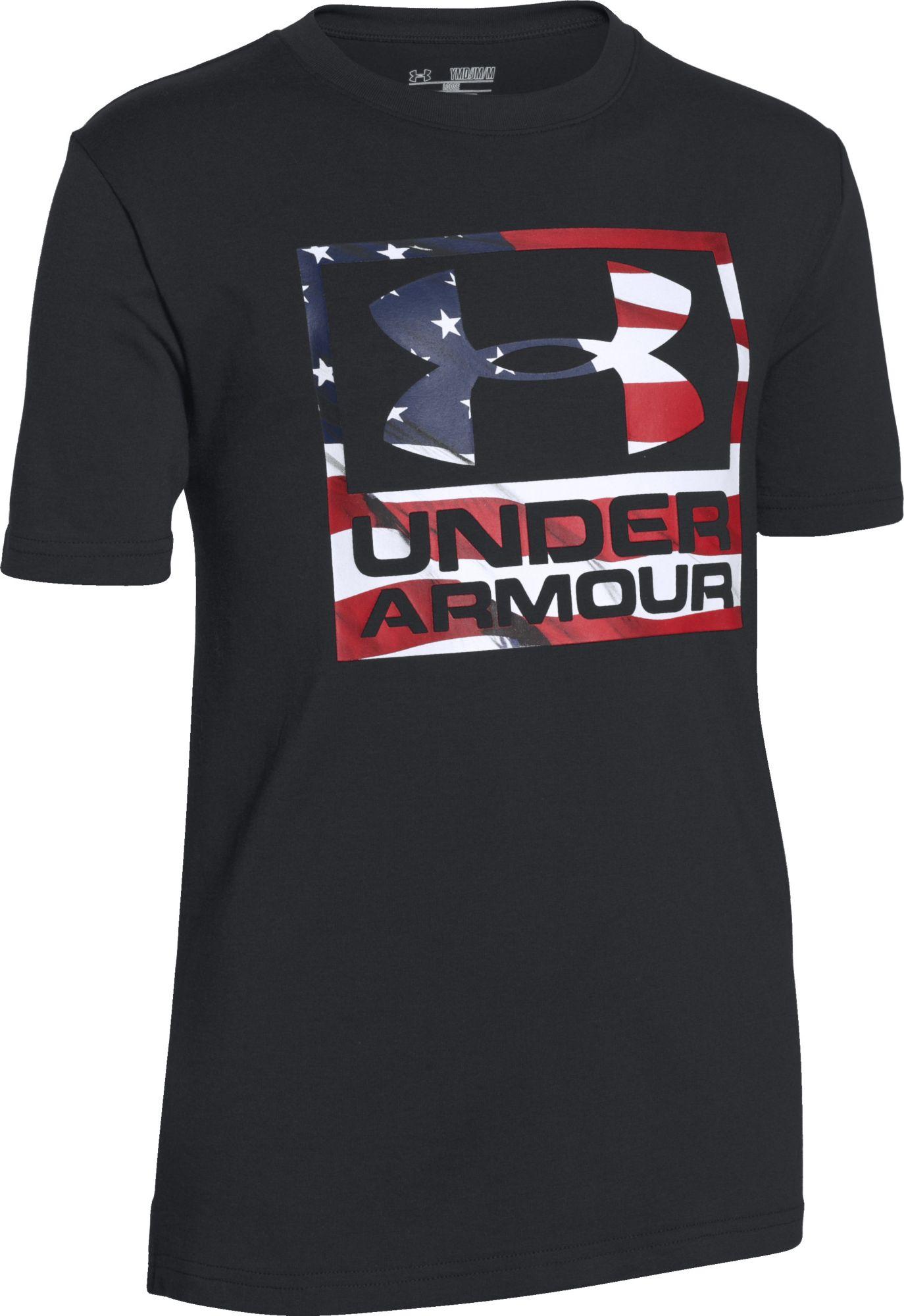 wholesale dealer 5ee18 4fd75 Under Armour Boys Big Flag Logo T Shirt DICKS Sporting Goods ...