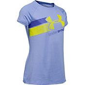 Under Armour Girls' Fast Lane Big Logo Tech T-Shirt