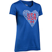 Under Armour Girls' USA Heart Graphic V-Neck T-Shirt