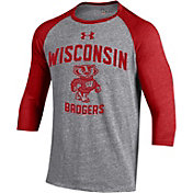 Under Armour Men's Wisconsin Badgers Grey Baseball T-Shirt