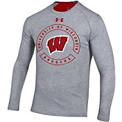 Under Armour Men's Wisconsin Badgers Grey Charged Cotton Long Sleeve T-Shirt