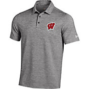 Under Armour Men's Wisconsin Badgers Grey Elevated Heather Polo