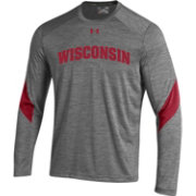 Under Armour Men's Wisconsin Badgers Grey Sideline Microthread Long Sleeve T-Shirt