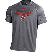 Under Armour Men's Wisconsin Badgers Grey Tech Performance T-shirt