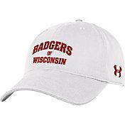 Under Armour Men's Wisconsin Badgers Cotton White Adjustable Hat