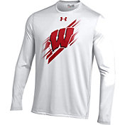 Under Armour Men's Wisconsin Badgers White Long Sleeve Tech T-Shirt